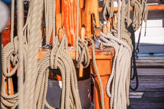 Masts and ropes of a large sailing ship Stock Images