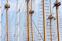 Masts. And ropes on sky background stock photos