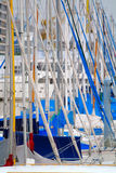 Masts of Sailboats. At an urban marina. Telephoto shot royalty free stock photos