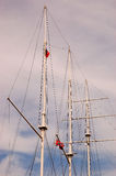 Masts of a sailing. Under sky Stock Photo