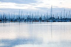 Masts of sailing boats in marina near Saint Malo Royalty Free Stock Images