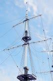 Masts of sailing ship. Stock Photo