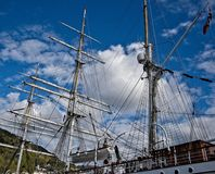Masts of a sailing ship royalty free stock photography