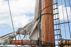 Masts and Sails. Old sailing ship masts and sails and rigging stock photo