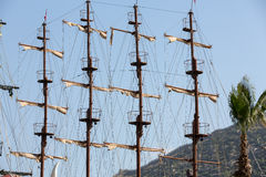 Masts and sails of huge sailing boat Royalty Free Stock Photography