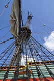 Masts with sails on a large sailing ship royalty free stock photo