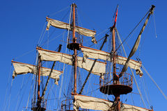 Masts and sails. On a sailing ship in Alanya, Turkey Stock Photography