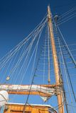 Masts and sails of a tall sailing ship Stock Images