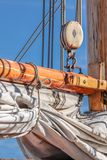 Masts and sails of a tall sailing ship Stock Image