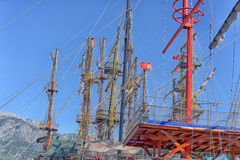 Masts of ships. In the port turkey Royalty Free Stock Photography