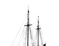 Masts silhouette of a antique caravel. Stock Images