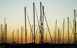 Masts and sunset. Yachts' masts on sunset in marina bay Stock Photo