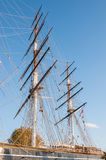 Masts of the tea clipper Cutty Sark in London Royalty Free Stock Photo