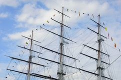 Masts of tea clipper Royalty Free Stock Photography