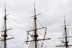 Masts. Three masts of HMS warrior Royalty Free Stock Image