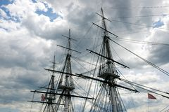 Masts of the USS Constitution Against the Sky (Boston, Massachusetts, USA / May 18, 2013) Royalty Free Stock Photography