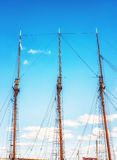 Masts of a wooden Sailing ship in Helsinki, Finland Royalty Free Stock Image