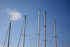 Masts of yachting boats Royalty Free Stock Images