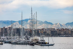 Masts on Yachts in Palma de Mallorca Stock Photo