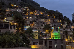 Masuleh,老村庄夜视图在伊朗 免版税图库摄影
