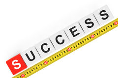Masure Success Concept. Success Cubes with Measuring Tape Royalty Free Stock Photography
