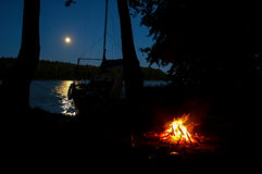 Masuria. Night in Masuria in the wildness with a sailboat Royalty Free Stock Photo