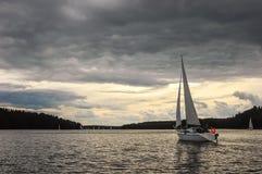 Masuria. Sailboat on the Masurian Lakes in Poland Stock Photos