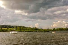 Masuria. Boats on the Masurian Lakes in Poland stock photo