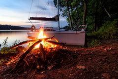 Masuria. Night in Masuria in the wildness with a sailboat Royalty Free Stock Photos