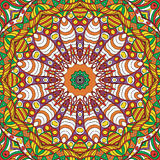 Maswerku mehndi etniczny ornament Nieszezególny dyskretny uspokaja motyw, używalny doodling kolorowy harmonijny projekt wektor Zdjęcie Stock