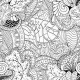 Maswerku mehndi wyginający się ornament Etniczny motyw, monochromatyczna binarna harmonijna doodle tekstura czarny white wektor Obrazy Stock