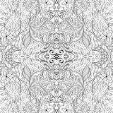 Maswerku mehndi wyginający się ornament Etniczny motyw, monochromatyczna binarna harmonijna doodle tekstura czarny white wektor Zdjęcie Stock