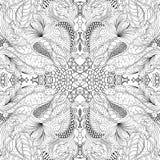 Maswerku mehndi wyginający się ornament Etniczny motyw, monochromatyczna binarna harmonijna doodle tekstura czarny white wektor Zdjęcia Royalty Free