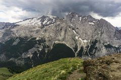 Masyw Marmolada w dolomitach jungfrau obraz stock
