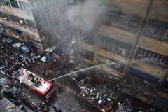 Masywny ogień przy Kolkata Hurtowym rynkiem zdjęcia stock