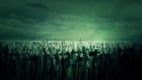Masywny wojsko tłum Średniowieczni wojownicy Przygotowywa dla wojny Rozweselać i Maszerować ilustracji
