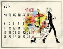 maszerujący 2019 europejczyka kalendarz z mody dziewczyną ilustracja wektor
