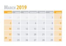 maszerujący Kalendarzowy planista 2019 w czystym minimalnym stołowym prostym stylu również zwrócić corel ilustracji wektora ilustracji