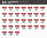 maszerujący ustawiać kalendarzowe ikony Daktylowy i czasie 2018 rok ilustracja wektor