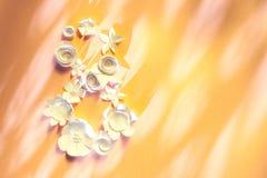 Maszeruje 8 kobiet ` s dnia kartę z białymi papierowymi kwiatami Obrazy Stock