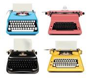 Maszyn do pisania ikony ustawia?, realistyczny styl royalty ilustracja