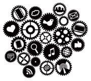 Maszyn przekładnie z Ogólnospołecznymi Medialnymi symbolami Obrazy Royalty Free