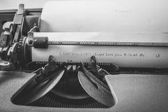 Maszyna do pisania, czarny i biały, szczegół Obrazy Royalty Free