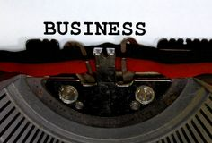 Maszyna do pisania Pisać na maszynie BIZNESOWEGO zbliżenia czerni atrament Zdjęcie Royalty Free