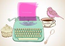 Maszyna do pisania retro tło ilustracji