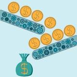 Maszyna robi dolar denominated złocistym monetom ilustracja wektor