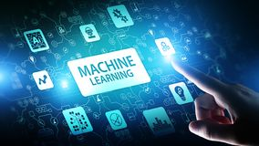 Maszyna uczenie Głębocy algorytmy, Sztuczna inteligencja AI, automatyzacja i nowożytna technologia w biznesie jako pojęcie, zdjęcie stock