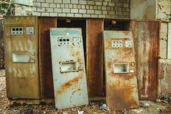 Maszyna z wodą - lśnienia oda woda w Chornobyl niedopuszczenia strefie Promieniotwórcza strefa w Pripyat mieście - zaniechanym zdjęcia stock