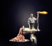 Maszynka do mięsa na czarnym tle Obrazy Stock