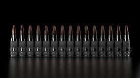 Maszynowego pistoletu pociska pasek, błyszczący srebni pociski, czarny tło, elegancki, studio ilustracja wektor